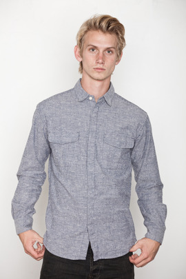 Blanc & Noir Navy Engineer Stripe Shirt