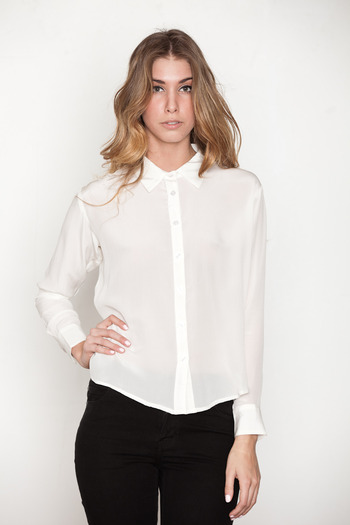 Laugh Cry Repeat - White Cowl Back Button-up