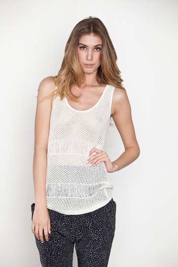 Laugh Cry Repeat - White Knit Tank