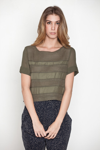 Addison - Mixed Media Stripe Top