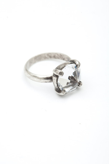 Made Her Think - Oxidized Silver/Crystal Spike Ring