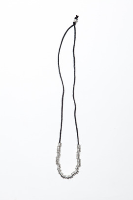 Vanessa Mooney Black Firefly Silver Cylinder Necklace
