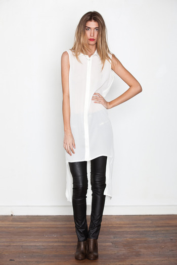 Ann-Sofie Back - White Double Length Shirt Dress