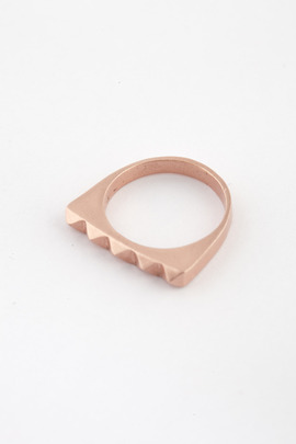 TOMTOM Matte Rose Gold Studder Stack Ring