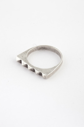 TOMTOM Oxidized Silver Studder Stack Ring
