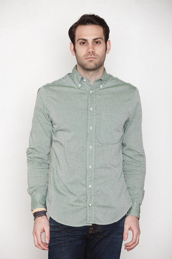Gitman Bros. Vintage - Green Wimbledon Chambray