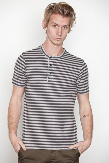 Wings + Horns - Dk. Grey S/S Striped Henley