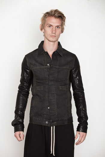 DRKSHDW Men's - Leather Sleeve Worker Jacket
