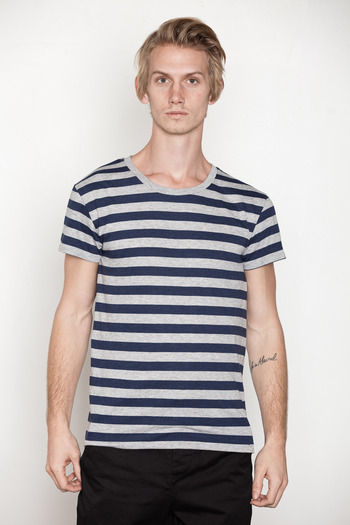 Cheap Monday Men's - Blue/Grey Alex Stripe Tee