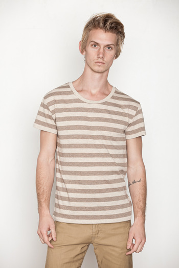 Cheap Monday Men's - Brown/Beige Alex Stripe Tee