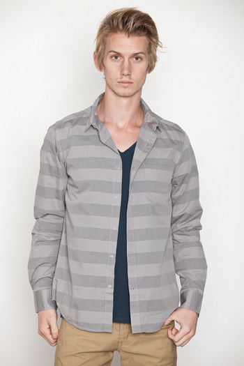 Cheap Monday Men's - Grey Stripe Loose Pocket Shirt