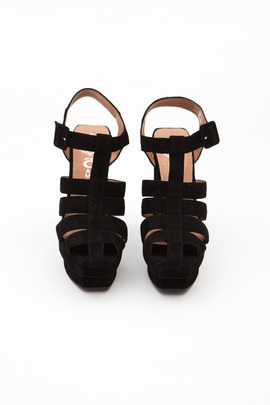Jeffrey Campbell Black Eva-B Platform Sandal