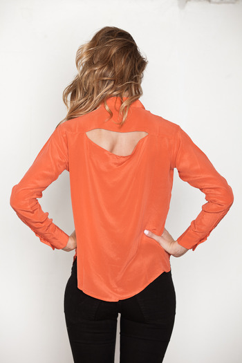 Laugh Cry Repeat - Coral Cowl Back Button-up