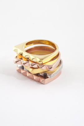 TOMTOM Shiny Rose Gold Studder Stack Ring