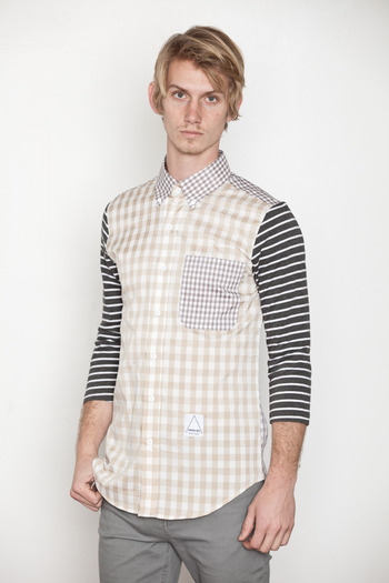 General Idea - Knit Sleeve Patchwork Shirt