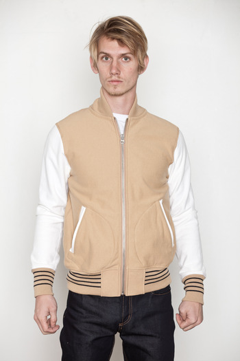Reigning Champ - Khaki Heavy Terry Varsity Jacket