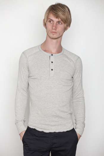 Wings + Horns - Heather Grey L/S Base Henley