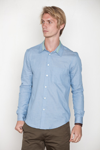 Opening Ceremony - Trimmed Collar Chambray Shirt