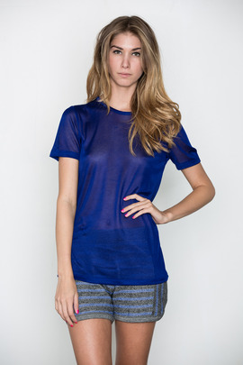T by Alexander Wang Women's Indigo Sheer Rayon Tee