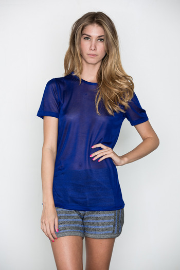 T by Alexander Wang Women's - Indigo Sheer Rayon Tee