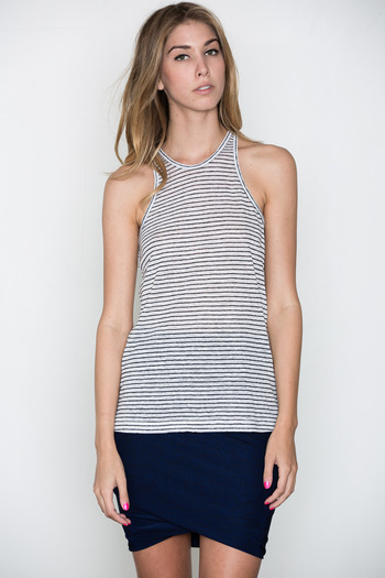 T by Alexander Wang Women's - Black/White Linen Stripe Tank