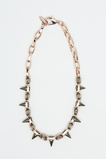 Joomi Lim - Rose Gold/Hematite Double Row Spike Choker