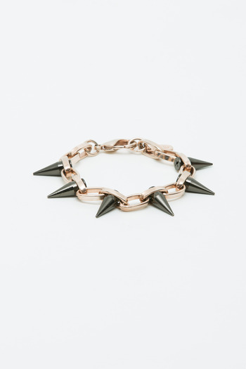 Joomi Lim - Rose Gold/Hematite Single Row Spike Bracelet