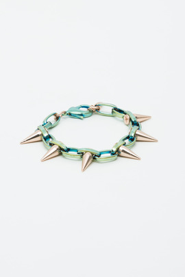 Joomi Lim Jade Titanium/Rose Gold Single Row Spike Bracelet
