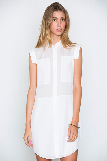 T by Alexander Wang Women's - White Silk & Mesh Combo Shirtdress