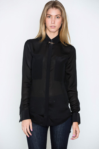 T by Alexander Wang Women's - Black Silk & Mesh Combo Shirt