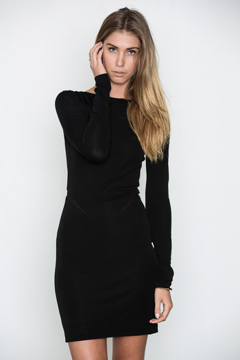 T by Alexander Wang Women's - Black Mesh Insert Boatneck Dress