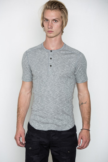 Wings + Horns - Heather Grey Static S/S Henley