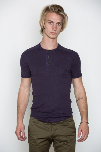 Wings + Horns - Heather Purple Static S/S Henley