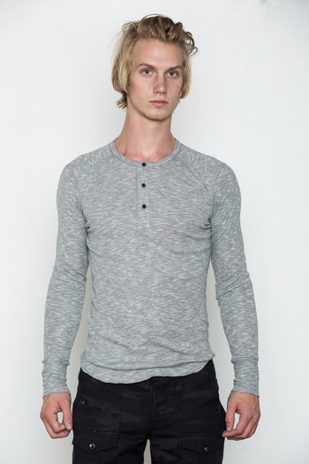 Wings + Horns - Heather Grey Static L/S Henley