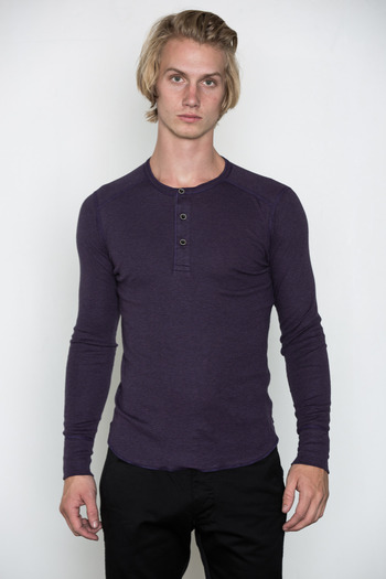 Wings + Horns - Heather Purple Static L/S Henley
