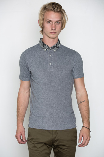 Wings + Horns - Black Camo Collar Polo