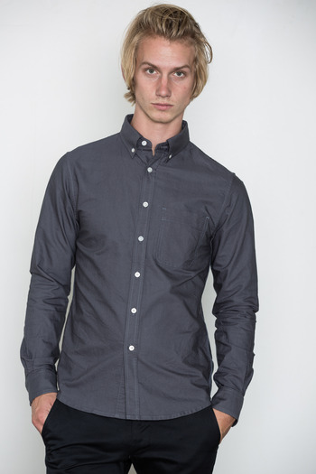 Wings + Horns - Light Charcoal Oxford Shirt
