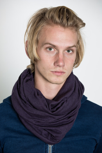 Wings + Horns - Heather Purple Static Rib Knit Tube Scarf