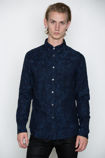 Wings + Horns - Indigo Camo Jacquard Shirt