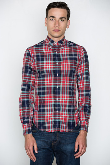 Gitman Bros. Vintage - Red/Navy Hopsack Plaid