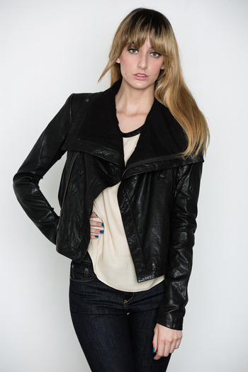 VEDA - Textured Max Classic Leather Jacket