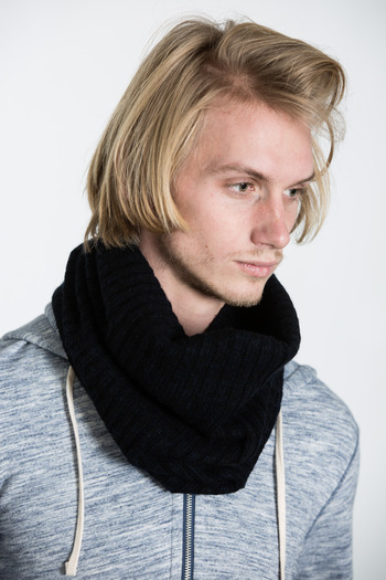 Wings + Horns - Black/Navy Cashmere Blend Tube Scarf