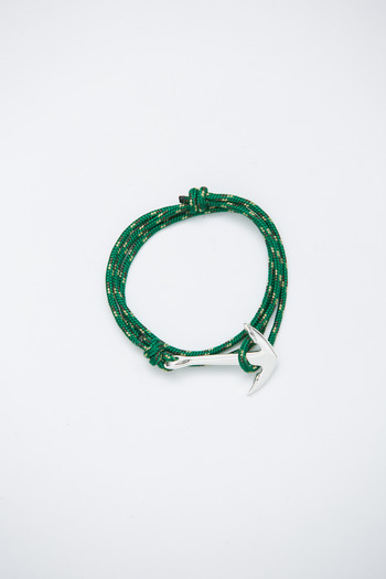 Miansai - Silver/Green Rope Anchor Bracelet