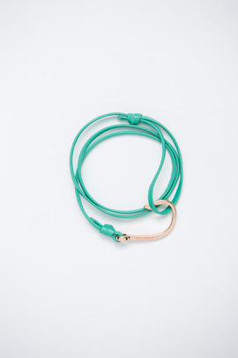 Miansai Rose Gold/Sea Breeze Leather Fish Hook Bracelet