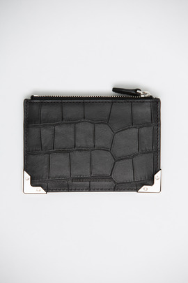 Alexander Wang Black/Rhodium Embossed Croc Coin Purse