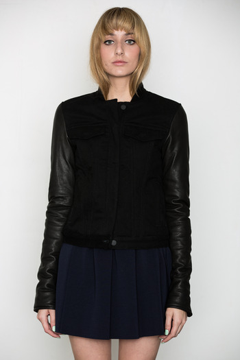 T by Alexander Wang Women's - Cotton Canvas Leather-Sleeved Jacket