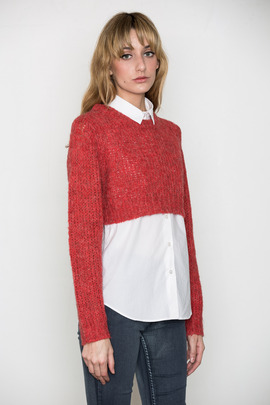 Cheap Monday Women's Fiery Red Truncate Sweater