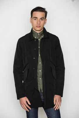 Wings + Horns Black Grunge Cloth Mac Coat