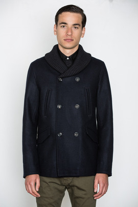 Wings + Horns Ribbed Collar Peacoat