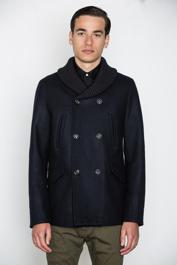 Wings + Horns - Ribbed Collar Peacoat